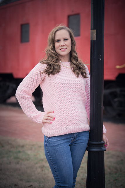 Michelle models her Savannah Sweater: a pink sweater with a nice textured surface