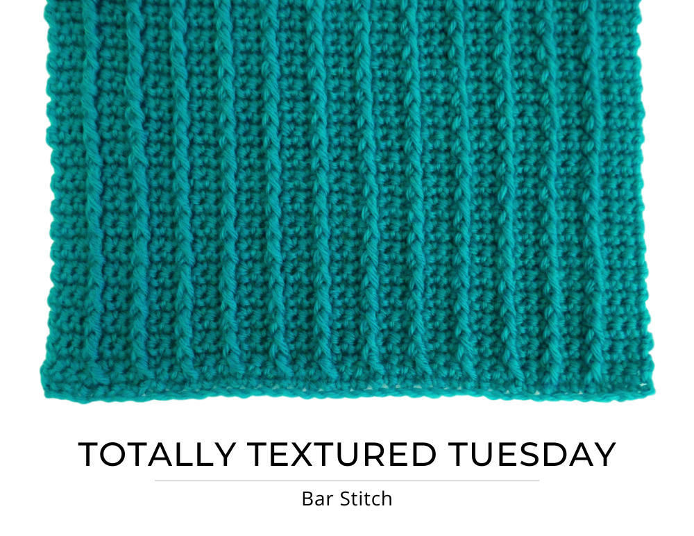 "An image of a turquoise crocheted swatch with vertical lines of front post double crochet spanning up and down the swatch. Text below says ""Totally Textured Tuesday: Bar Stitch"""