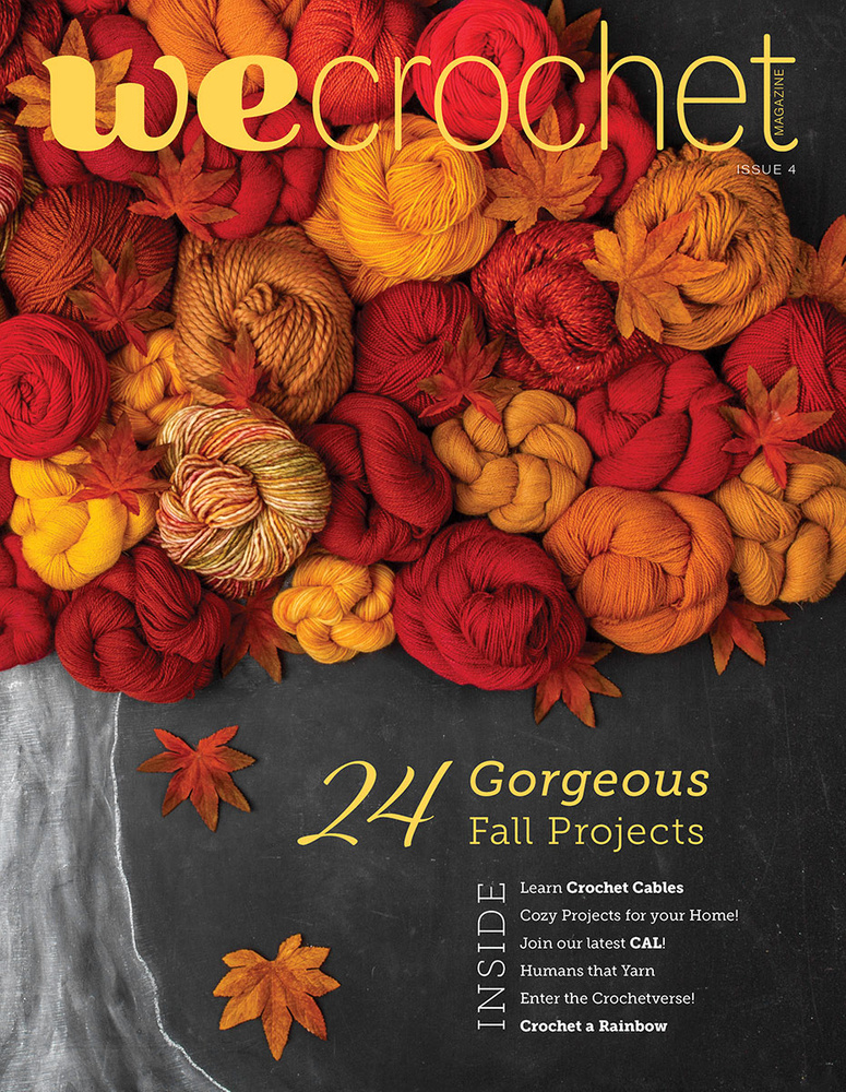 WeCrochet Magazine Issue 4 cover: featuring an autumn tree made of orange and red yarn on a chalkboard background