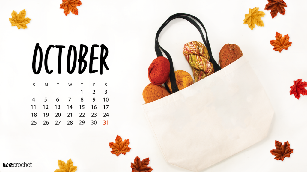 October 2020 downloadable calendar wallpaper featuring a tote bag full of fall-colored yarn and some scattered leaves