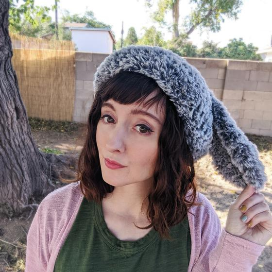 A crocheted beret with bunny ears, made in Fable Fur